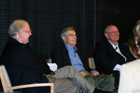 Dr. Beyster (center) at Rady School of Management panel, with Tom Dillon (left) and Gene Ray (right)
